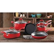 Vintage Speckle 10-piece Non-stick Pre-seasoned Cookware Set, Dishwasher Safe in Red