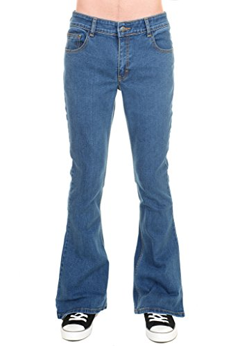 Run & Fly Mens 70s Retro Vintage Blue Stonewash Stretch Denim Bell Bottom Flares 34 Regular