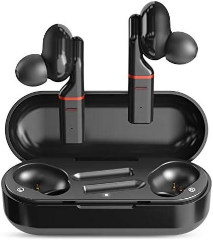 SimpTronic True Wireless Earbuds Bluetooth 5.0 Headphones in-Ear TWS Mini Headset for Sport Deep Bass Stereo Earphones HD Sound Waterproof Noise Cancelling Mic 30 Hours Playtime Black