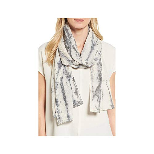 Eileen Fisher Black Sinuous Shibori Silk Crinkle Scarf 16'' X 77''
