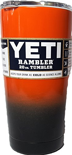 Yeti Rambler, Powder-coated -Sports Team Colors (20 ounce, Bright Orange/Gloss Black) by YETI