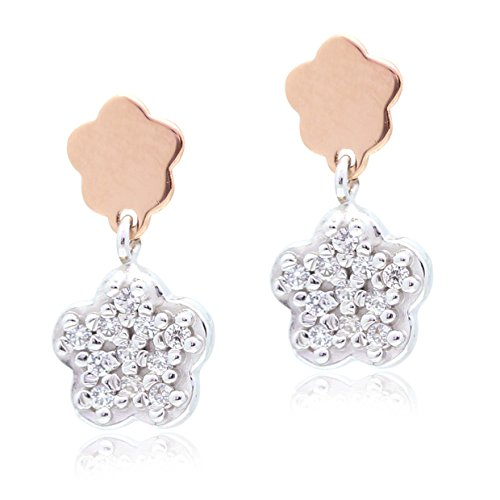UNICORNJ Childrens 14k Rose and White Gold Polished CZ Pave Double Flower Dangle Post Earrings by Unicornj