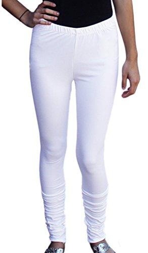 Ayurvastram Women's Cotton Spandex Jersey Extra Long Leggings, Churidar; White; Small