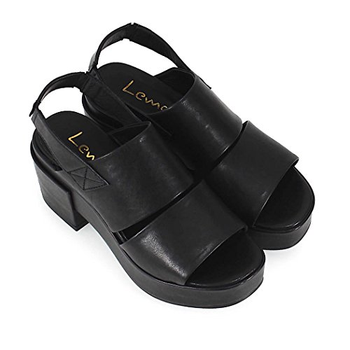 LEMARE' Women's Shoes Lemarè Black Leather Wedge Sandal Spring Summer 2018 LEdzGv0Xz