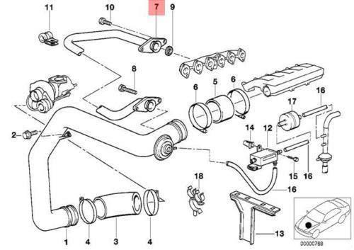 E34 E36 Sedan EGR Air Duct Supercharger Pipe 2244533 11712244533 New Genuine: