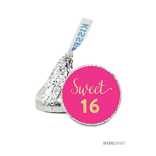 Andaz Press Chocolate Drop Labels Stickers, Birthday, Faux Gold Glitter Fuchsia Sweet 16, 216-Pack, For Hershey's Kisses Party Favors, Gifts, Decorations