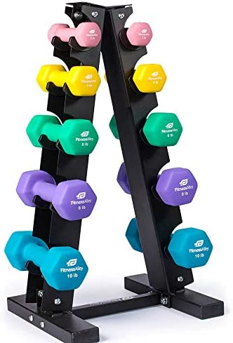 Fitness Alley Neoprene Dumbbells A Frame Rack – Free Weights Hex Hand Weights – Gym Exercise 5 Pairs Set 2lb, 4lb, 6lb, 8lb 10lb with 5 Tier Rack
