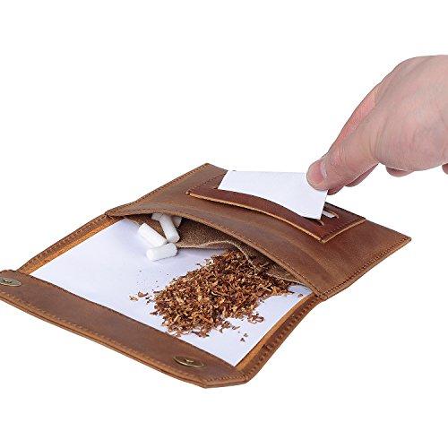 Lions Design Leder-Tabakbeutel mit Filterfach Blättchenhalter Magnetverschluss und Gizeh Papers - Premium Tabaktasche - 100% Handmade Drehertasche Schwarz Schwarz O0hGphzz7M