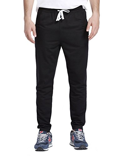 Baleaf Men's Tapered Athletic Running Track Pants Black Size XL by Baleaf (Image #2)