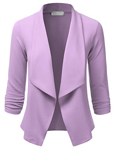 EIMIN Women's Lightweight Stretch 3/4 Sleeve Blazer Open Front Jacket Lavender -