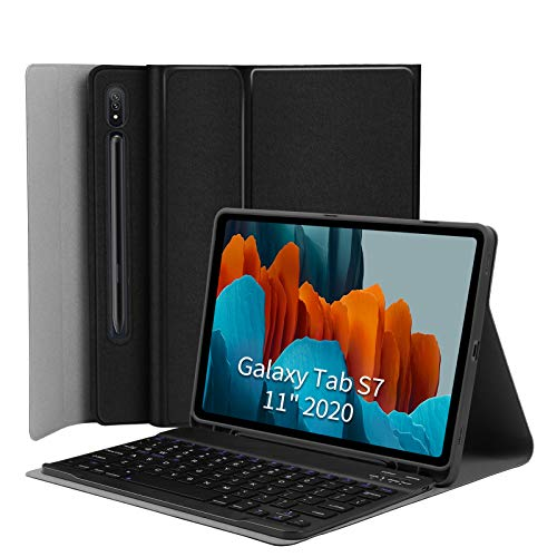 Keyboard Case for Samsung-Galaxy-Tab S7 11 - JUQITECH Smart Case with Keyboard for Galaxy Tab S7 11 Inch SM-T870/T875 2020 Tablet Magnetic Detachable Wireless Keyboard Cover with S Pen Holder, Black