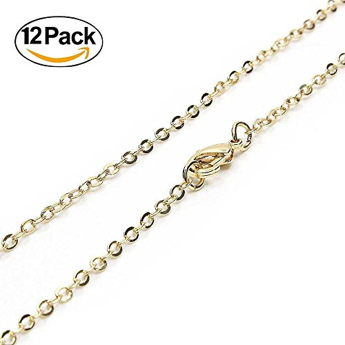Gold Plated Chain Necklace Jewelry - Wholesale 12 PCS Gold Plated over Solid Brass Chain Bulk Finished Chains For Jewelry Making 18-30 Inches (18 Inch(1.5MM))