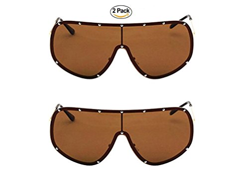 Oversize XXL Huge Large Shield Wrap Big Mask Polarized Sunglasses (2 pack Brown, - Huge Sunglasses