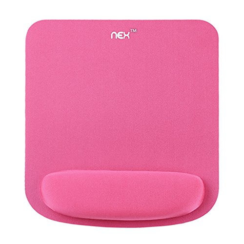 Mouse Pad with Memory Foam Wrist Rest, Non-Slip Rubber Base Mouse Mat for Typist Office, Pink