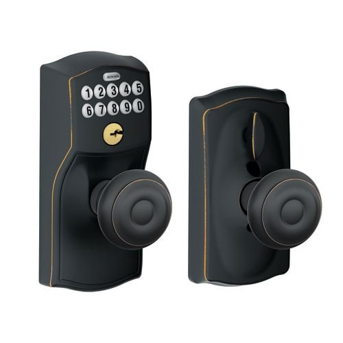 Schlage FE595 CAM 716 16-211 10-063 Camelot By Georgian Keypad Knob With Flex Lock, Aged Bronze by Schlage Lock Company