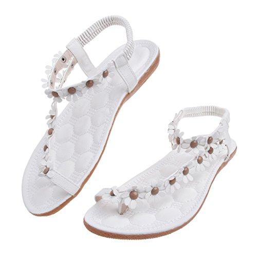 Top-Sell 2017 Sandalias de las mujeres del verano Zapatos de las mujeres de Bohemia Sandalias de la flor Zapatos ocasionales de los planos Blanco