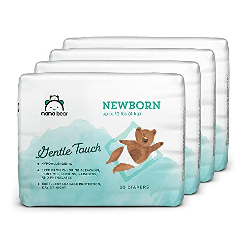 Amazon Brand – Mama Bear Gentle Touch Diapers Newborn, 120 Count (4 packs of 30)
