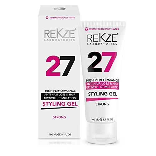 REKZE 27 Hair Styling Gel Strong, Breakthrough With Capixyl, Argan Oil, Caffeine, Keratin, Proline For Men & Women, Strengthens Hair, Reduces Breakage, Anti-Hair Loss & Support Hair Growth