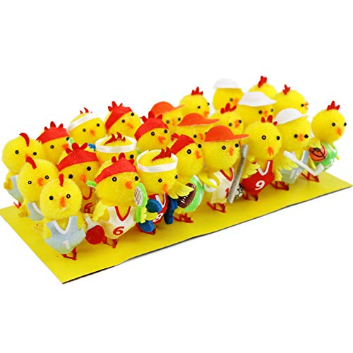 Bstaofy Easter Chenille Chicks Set Realistic Athletic Sports Chickens Spring Home Garden Decorations Festival Gifts Pack of 24, 2 inches from Bstaofy