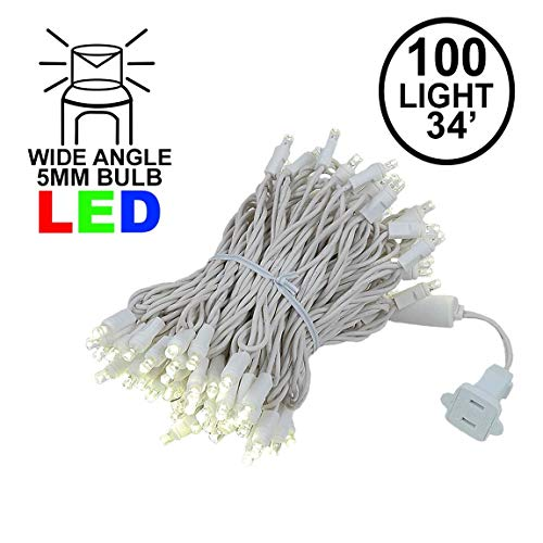 Novelty Lights 100 Light LED Christmas Mini Light Set, Outdoor Lighting Wedding Patio String Lights, Warm White, White Wire, 34 ()