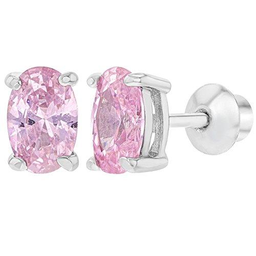 57b4182af846 In Season Jewelry - 925 Plata de Ley Circonita Rosa Aretes con Cierre de  Rosca para