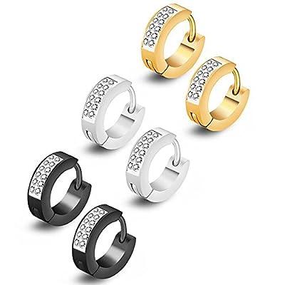 3 Pairs Stainless Steel Cubic Zirconia Hoop Earrings, For Men Or Women Huggie Hoop Earrings Piercings