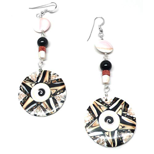 Shell Inlay Statement Earrings Tan Coral Black Pink Sterling Silver
