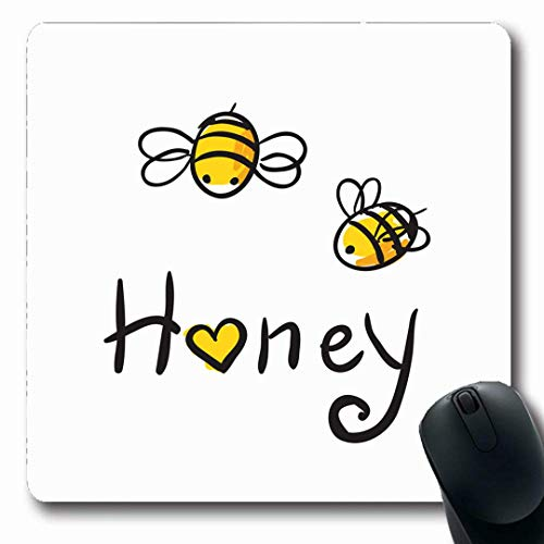 Mousepads Honeybee Cute Honey Bee Food Drink Jar Heart Happy Baby Flying Design Non-Slip Gaming Mouse Pad Rubber Oblong Mat