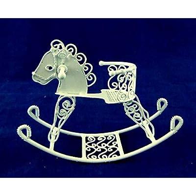 Vanity Fair Dolls House Miniature Nursery Toy White Wire Wrought Iron Sit On Rocking Horse: Toys & Games