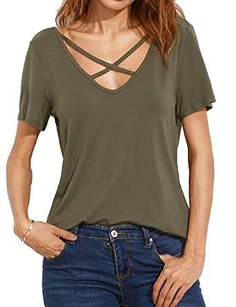 Allegrace Women Summer Sexy Criss Cross Short Sleeve Open Back T Shirt Casual Tops Army Green S
