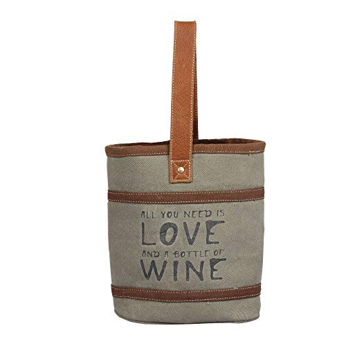 Love and Wine Upcycled Canvas and Leather Travel Double Wine Bag
