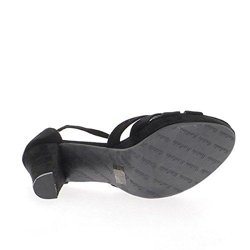 Tacón de plataforma de 12cm de sandalias mujeres grandes aspecto gamuza negra