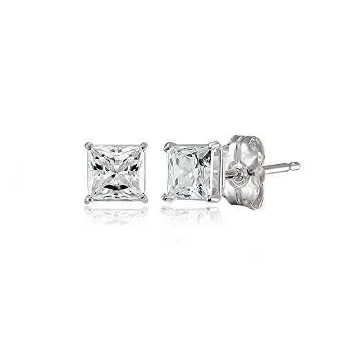 14K White Gold 4mm Princess-cut Stud Earrings set with Swarovski Zirconia ()