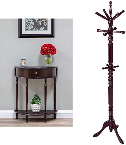Frenchi Home Furnishing End Table/Side Table Home Furnishing Traditional Spinning Top Wooden Coat Rack