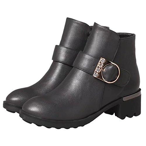 AIYOUMEI Damen Blockabsatz Stiefeletten mit Schnalle und Strass 5cm Absatz Ankle Boots Grau