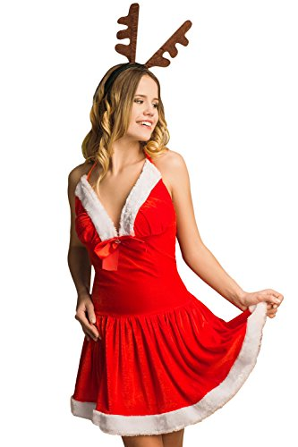 Mrs Brown M&m Costume (Adult Women Santa Girl Costume Mrs Claus Role Play Christmas & New Year Dress Up (Small/Medium, Red, White, Brown, Black))
