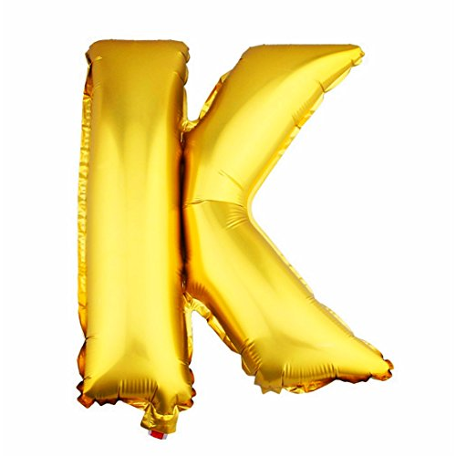 Aerfas 40 Inch Letter Balloons, Gold A-Z Letter And 0-9 Number Aluminum Foil Balloons For Party Decoration Supplies,Can Be Float With Helium, ( Letter K )