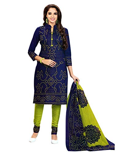 (Ladyline Readymade Bandhej Printed Pure Cotton Salwar Kameez Dress Indian (Size_36/ Navy Blue))