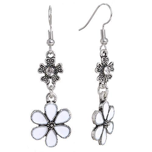 Enamel Flowers Dangles Rhinestone Charms French Hook Pierced Ear Drop Earrings (Flowers)