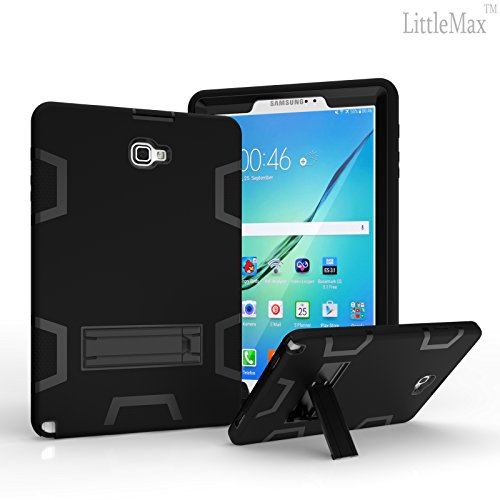 Galaxy Tab A 10.1 with S Pen Case-LittleMax(TM) [High Impact] Kickstand Protective Daul Lay Robot Soft Gel Tough PC Cover for Samsung Galaxy Tab A 10.1 Inch Tablet with S Pen SM-P580-01 Black (Samsung Galaxy Tab S Case Rugged)