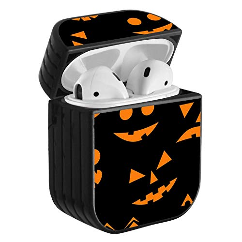 Compatible with Airpods 2 & 1, Shockproof Portable Protective Hard Cover Case with Neck Lanyard Strap - Halloween Smiling Evil Pumpkin -