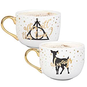Harry Potter Latte Coffee Mug Set of 2 – After All This Time, Always – Deathly Hallows and Doe Patronus Designs – 16 oz