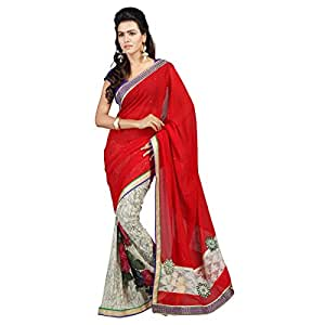 Shilp-Kala Faux Georgette Border Worked Multi Colored Saree SKTFSG10006
