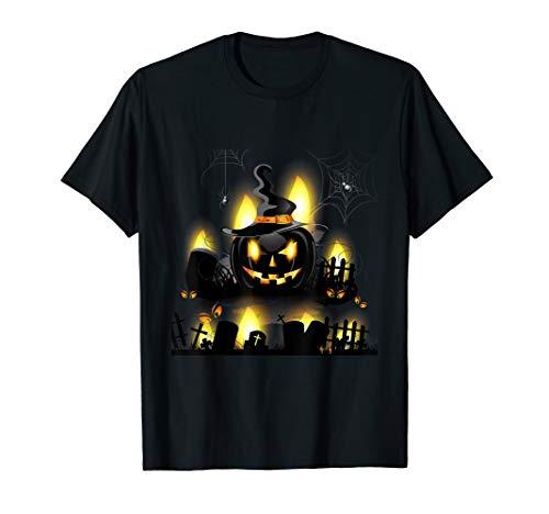 Halloween Pumpkin Shirt Graveyard Scary Witch Jack O Lantern