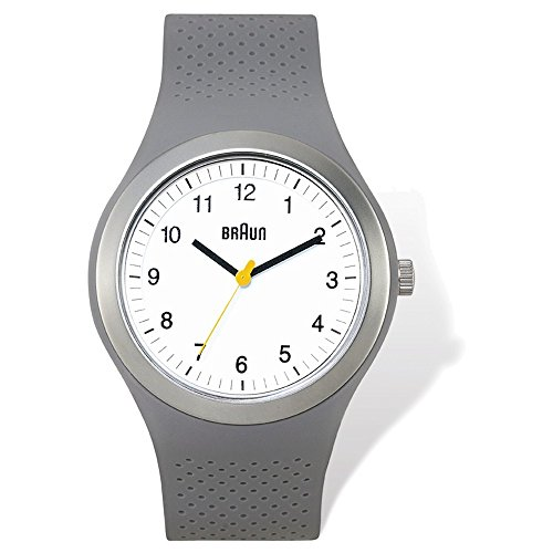 Mens Braun White Dial Grey Silicone Strap Watch