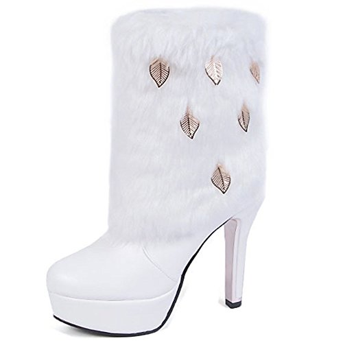 Womens PU Leather Rabbit Hair Winter High Heel Platform Shoes Lady Studded Rhinestone Warm High Leg Boots Snow booties White 1
