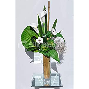 Artificial White Anemone and Calla Lily Vase Arrangement w/Succulents and White Wood 28