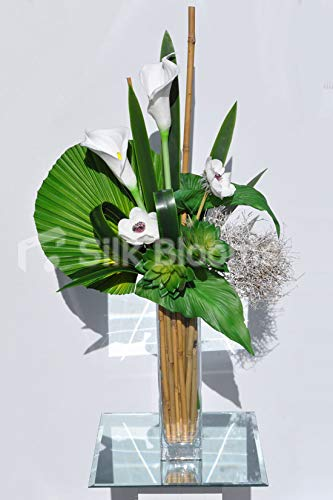Artificial-White-Anemone-and-Calla-Lily-Vase-Arrangement-wSucculents-and-White-Wood