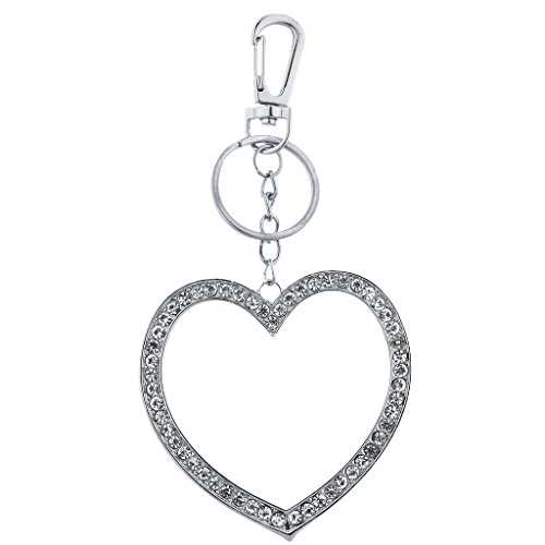 Large Initial Silver Key Ring - Lux Accessories Silvertone Large Pave Rhinestone Cutout Heart Keychain Bag Charm