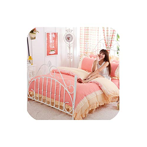 - LOVE-JING Pink Lace Korean Bedding Set 4Pcs Bedspread Beautiful Princess Style Kid Girls Twin Full Queen King Size Bed Skirt Duvet Covers,Style4,Twin 4Pcs